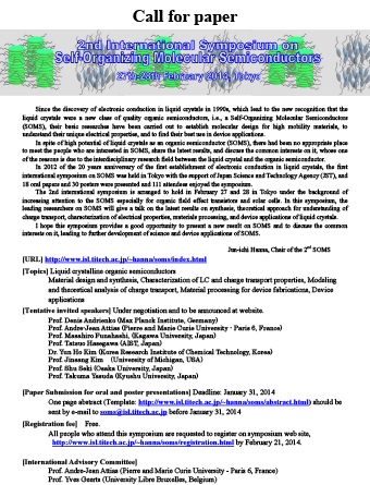 2nd International Symposium on Self-Organizing Molecular Semiconductors