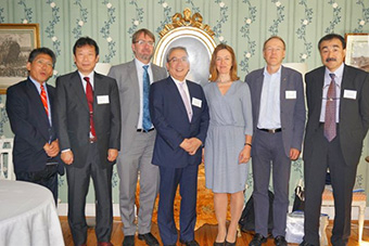 From left: International Cooperation Coordinator Hirasawa, Vice President Sekiguchi, KVA Executive Director Hedenqvist, President Mishima, KVA President Moberg, Uppsala Professor Ingelman, Executive Vice President Ando
