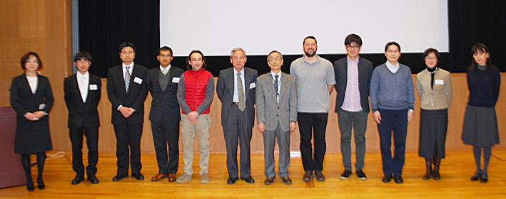 Group photo: Executive Vice President Okada, tenure-track faculty members and administrative staff
