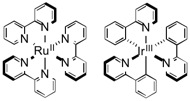 Ruthenium complex derivatives with bipyridine ligands and iridium complex derivatives with phenylpyridine