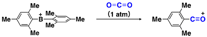 Fig. 3: Arylation-deoxygenation reaction of CO2 caused by the diarylborinium ion.
