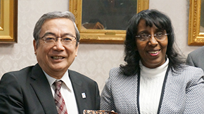 President Mishima Receives Courtesy Call from Ethiopia's Minister of Science and Technology Mrs. Demitu Hambisa