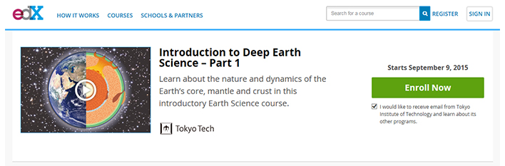 Tokyo Institute of Technology's first edX page