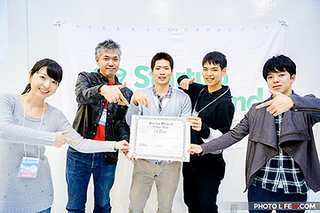 Winning team with Yamazaki (center)