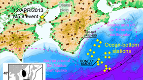 Long-period Ocean-bottom Motions Observed by DONET
