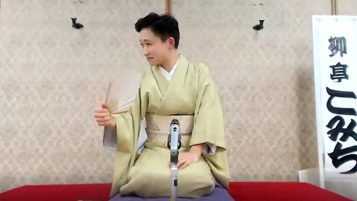 Traditional rakugo stage set up for online show