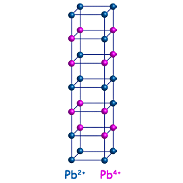 Sketch of unqiue charge ordering in PbFeO3 comprising two types of differently charged layers