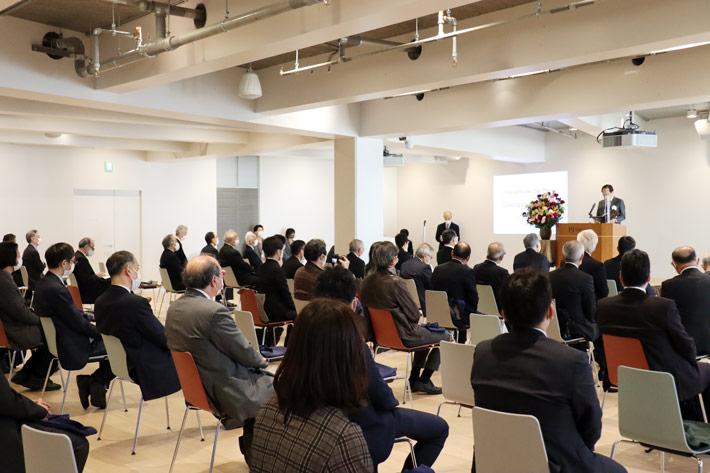 Participants at grand opening ceremony of Hisao & Hiroko Taki Plaza