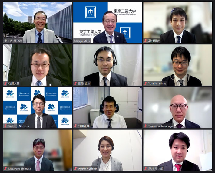 (From top left) Executive Vice President for Research Watanabe, President Masu, and ten award winners