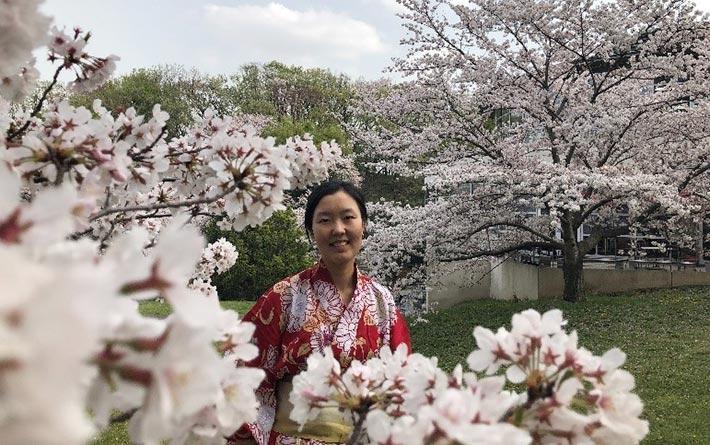 Tuo in yukata, immersed in cherry blossoms on Suzukakedai Campus