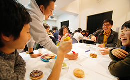 Discussion and donuts at the World Cafe