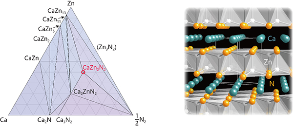 Predictions on the stability and crystal structure of CaZn2N2. Left: Ca–Zn–N ternary phase diagram. Right: Crystal structure of CaZn2N2. Only the Zn–N bonds are illustrated for easy visualization.