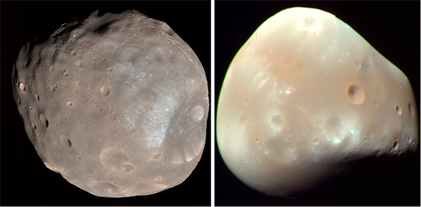 The pictures of Phobos (left) and Deimos (right). The sizes are not scaled. (Images from NASA/JPL-Caltech/University of Arizona)