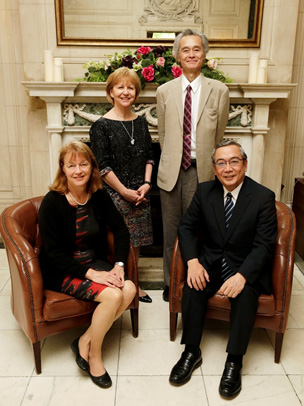 (clockwise from front left) President Gast, Associate Provost Dallman, Vice President Satoh, President Mishima