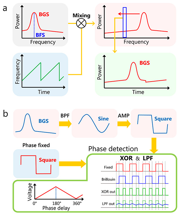 Principles of high-speed acquisition of Brillouin gain spectrum (BGS) and Brillouin frequency shift (BFS).