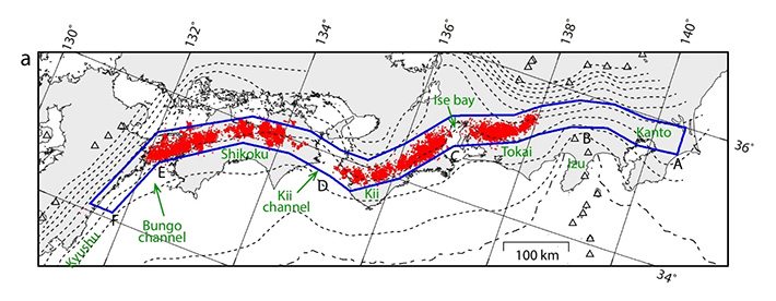 Map of low-frequency earthquake (LFE) activity above the megathrust in the Nankai subduction zone.