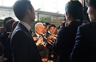 Taking questions from reporters after the courtesy call