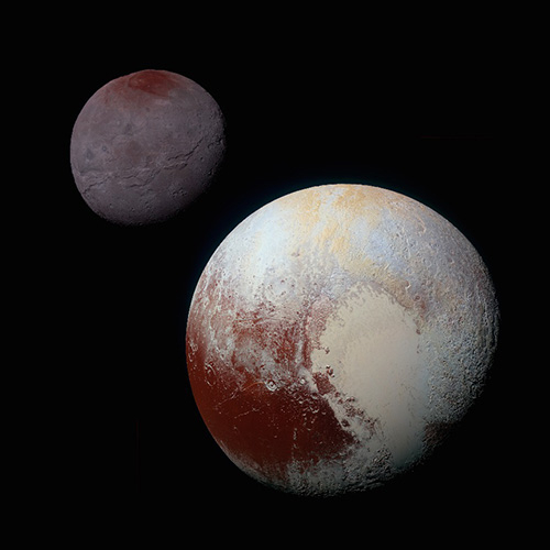 "Color images of Pluto (lower right) and Charon (upper left) taken by NASA's New Horizons spacecraft (image from NASA/APL). The dark and reddish ""Cthulhu Regio"" can be seen at the bottom left of Pluto."