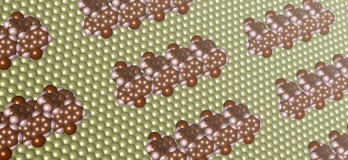 Formation of chain-shaped structures on a copper surface from molecular self-assembly, as predicted by a new computational method. These chain-shaped structures can function as tiny wires with diameters 1/100,000th of a piece of hair for future electrical devices.