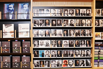 Postcards of Nobel Prize winners at museum shop