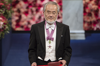 Ohsumi after receiving his Nobel Prize © Nobel Media AB 2016. Photo: Pi Frisk