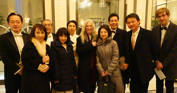 Tokyo Tech delegation with Patti Smith at Grand Hôtel