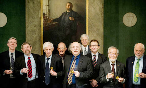 Nobel laureates 2016 at the Nobel Foundation From left: Jean-Pierre Sauvage, J. Michael Kosterlitz, David J. Thouless, Oliver Hart, F. Duncan M. Haldane, Bengt Holmström, Bernard L. Feringa, Yoshinori Ohsumi, and Sir J. Fraser Stoddart © Nobel Media AB 2016. Photo: Pi Alexander Mahmoud