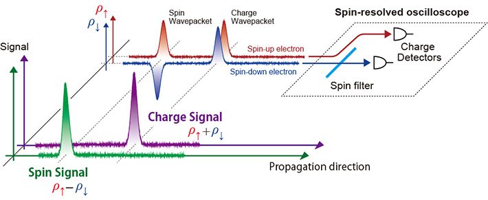 Conceptual diagram of charge- and spin-signal measurement