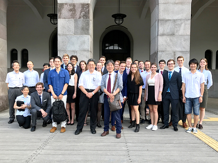TU Delft students with Tokyo Tech professors in front of Main Building
