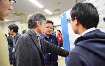 Poster sessions (left) and Dean Wada in discussion with students