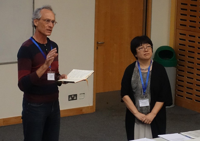 Imperial's Prof. Henrik Jensen (left) and Tokyo Tech's Assoc. Prof. Misako Takayasu outlining ideas of Data Science and Complexity group