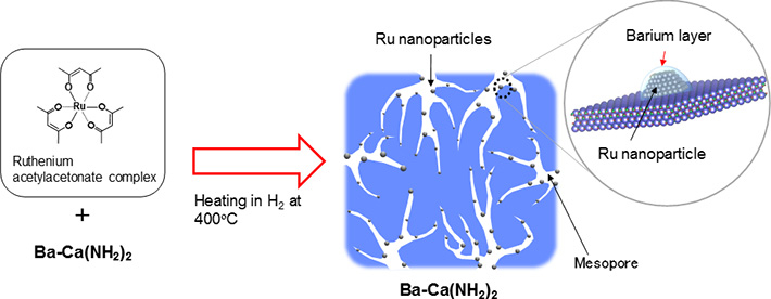 Active structure of developed catalyst (Ru/Ba-Ca(NH2)2)