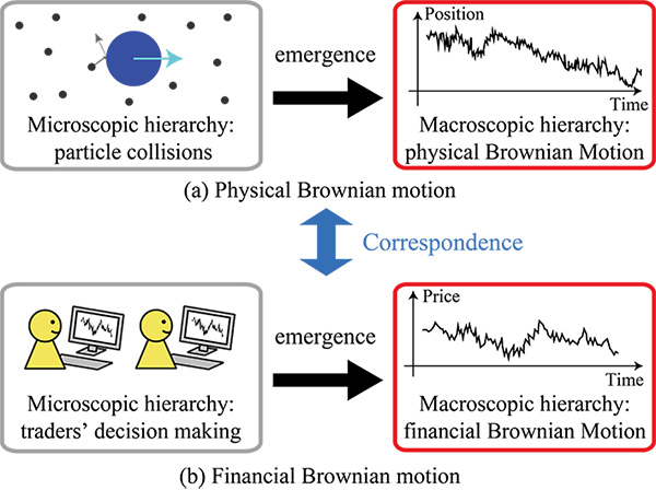 Figure 1. The parallels between physical and financial Brownian motion