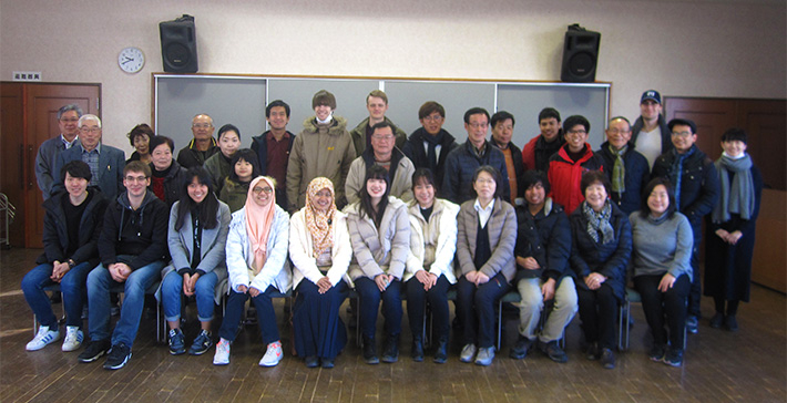 Group photo with homestay family members