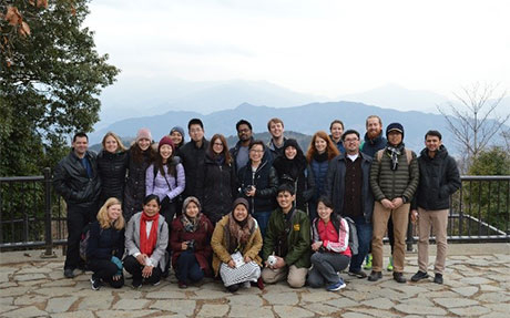 Mount Takao team's commemorative photo at summit