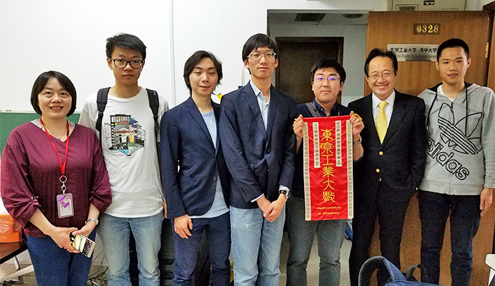 From right: Yunfeng You, President Masu, Ryu Maeda, Zhenglin Chen, Momotaro Tani, Lu Chenlin, China Office Chief Liaison Officer Yamin Wang