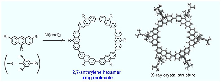 Synthesis of the ring molecule (called 2,7-anthrylene hexamer) and its solid-state structure. Its structure results from the modification of a molecule that the team had studied previously, which did not have the inner cavity where the nano-sphere gets lodged.