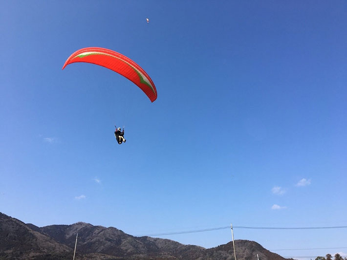 Paraglider going for a soft landing