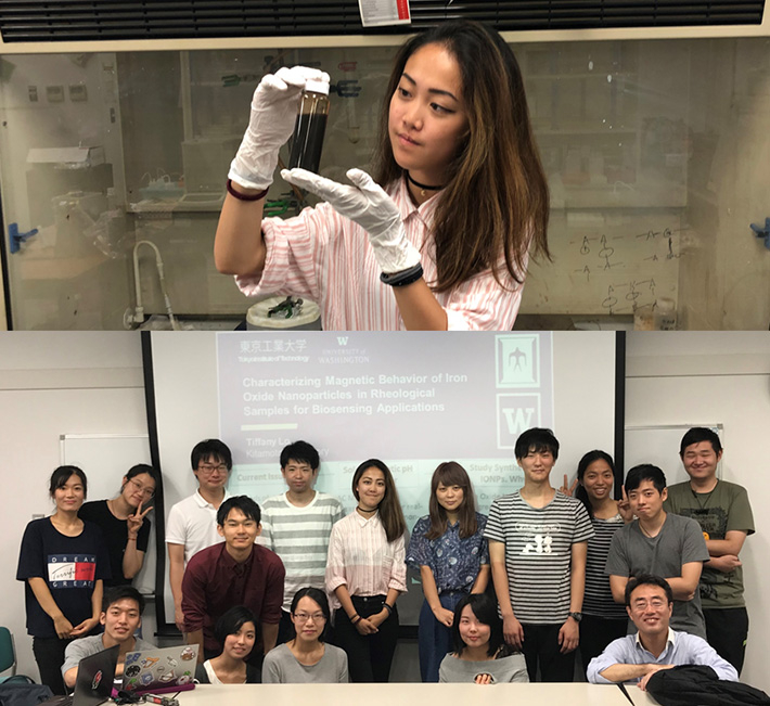 Above: Lo focused in the lab Below: Lo with lab mates and Kitamoto (front row, far right)