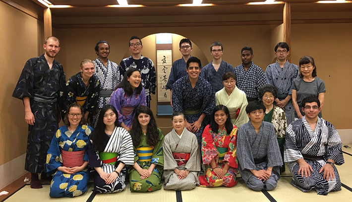 Summer Program participants in traditional Japanese dress for tea ceremony experience