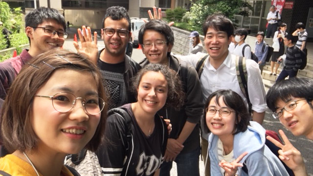 Campus tour organized by outbound program student Takahashi (front left)