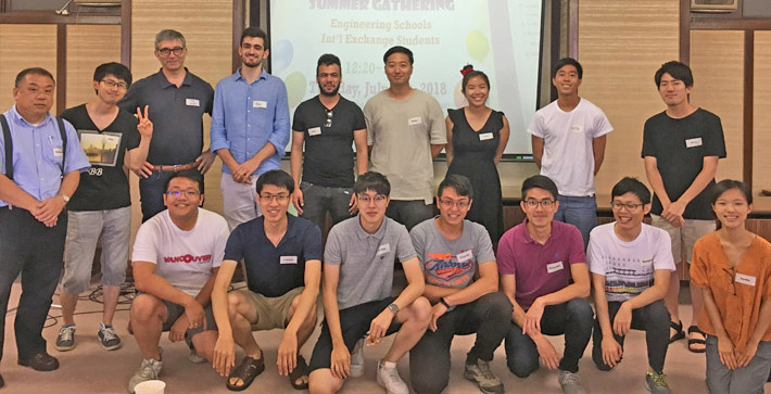 Tezuka (front right) at summer gathering with SERP, AOSU, and Tokyo Tech's outbound students