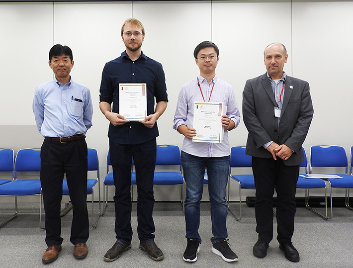 Recipients of the Best Poster Award (center) with Tokyo Tech's Yamaguchi (left) and Lund University's Lipnizki (right)
