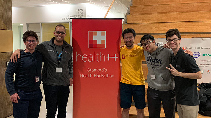 Team BEETLE: (from left) George Padeigis from McMaster University, Ahmed A. Metwally from Stanford University, Hajime Fujita from Tokyo Tech, Anthony Huang from the University of Toronto, and Marcelo H. Pillonetto from Military Institute of Engineering