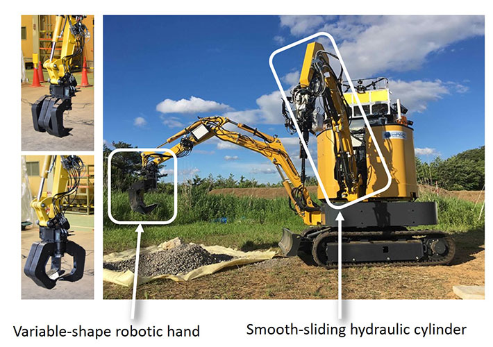 Figure 5. Smooth-sliding hydraulic cylinder and variable-shape robotic hand installed in a construction robot (developed in ImPACT by Komatsu, Osaka University, and others)