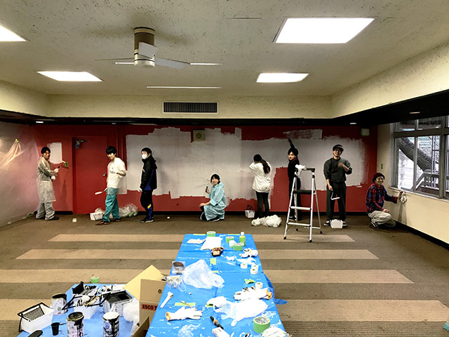 Students painting the facility walls…