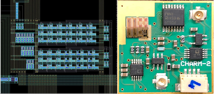 Figure 3. Screen shot of CAD layout for the circuit and photograph of circuit board.