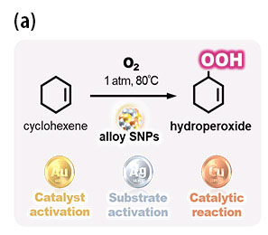 Selective generation of hydroperoxide from hydrocarbon catalyzed by alloy SNPs composed of metals with individual roles (a).