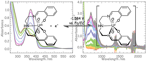 The pentadentate Schiff base ligand fully chelates equatorial coordination sites of UVIO22+, resulting...