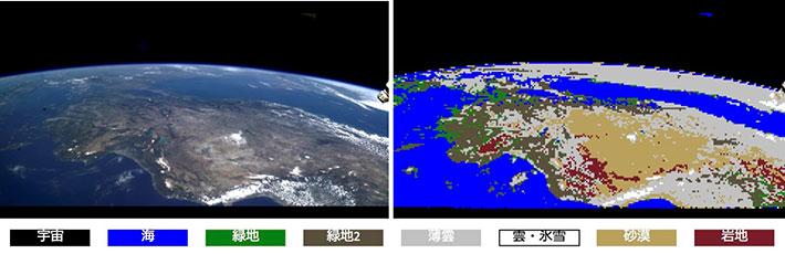 ISSからの地球画像をを用いた植生・土地利用識別の例